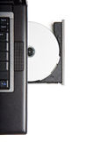 Dvd cd rom drive in laptop. Dvd cd in laptop drive - closeup isolated on white Stock Photo