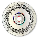 DVD con le note musicali Immagini Stock Libere da Diritti