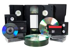 Dvd del Cd dei nastri a cassetta di memoria di media video Immagine Stock