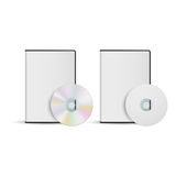 DVD disc and box template for your design, vector. On white Royalty Free Stock Images