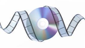 DVD disc and filmstrip. On white background. 3D image stock illustration