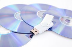 DVD disc and USB flash drive Stock Photos