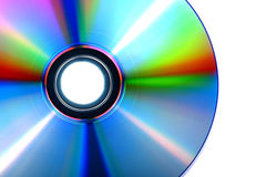 DVD, disco del CD su fondo bianco, primo piano, isolato Immagine Stock