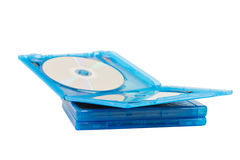 Dvd disk in blue boxes Royalty Free Stock Photography