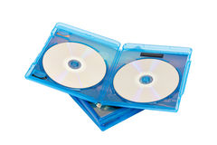 Dvd disk in blue boxes Royalty Free Stock Photos