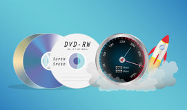 DVD Disk with speed meter Royalty Free Stock Image