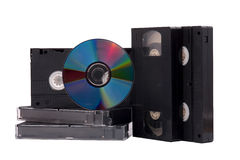 DVD disk and VHS tapes Stock Photo