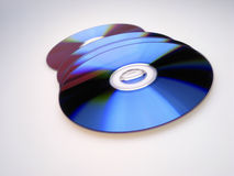 Dvd disks. On light background, close up stock image
