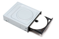 DVD Drive with disk. Isolated on a white background Royalty Free Stock Photography