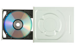 DVD drive with disk, top view Royalty Free Stock Image