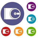 DVD drive open icons set Royalty Free Stock Photos