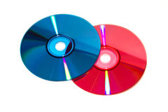 DVD e CD di colore Fotografia Stock