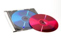 DVD e CD di colore con la scatola Fotografie Stock Libere da Diritti