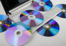 Dvd e portátil Fotos de Stock