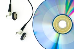 DVD and Earphone Royalty Free Stock Images