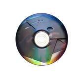 Dvd eller cd och gammal diskett inom Royaltyfri Fotografi