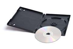 DVD en Geval op Wit Royalty-vrije Stock Foto's
