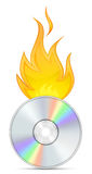 DVD and Fire. Burn Software. Icon for CD and DVD Burn Software Stock Image