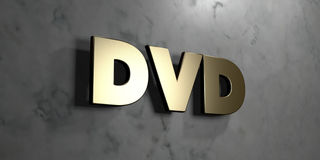 Dvd - Gold sign mounted on glossy marble wall  - 3D rendered royalty free stock illustration Royalty Free Stock Images