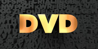 Dvd - Gold text on black background - 3D rendered royalty free stock picture Stock Image