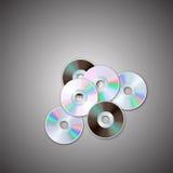 DVD i cd dyska sety Komputerowi dyski Realistyczny wizerunek Fotografia Stock