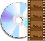 DVD Movie. A digital video disc (DVD) and film negative representing a movie on DVD Stock Photos