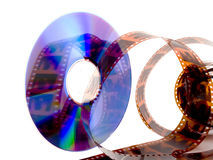 Dvd movies. A dvd decorated with film on a white background Stock Photos