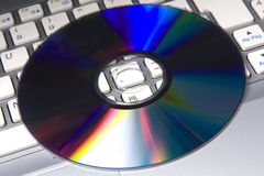 DVD on a notebook Stock Photos