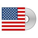 DVD o caja CD con la bandera americana de los E.E.U.U. Fotografía de archivo