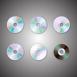 DVD och CD diskettuppsättningar Datorskivor Realistisk bild stock illustrationer