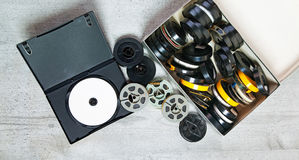 Dvd and old 8 mm and Super8 Royalty Free Stock Image