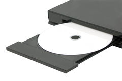 DVD In Open Tray. Royalty Free Stock Photos