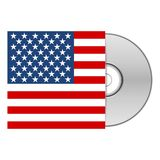 DVD ou caisse CD avec le drapeau américain des USA Photographie stock