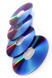 DVD Platten auf Weiß Stockbilder