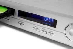 The DVD-player. Close-up of the silver DVD-player Royalty Free Stock Photography