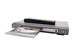 Dvd player. Dvd cd mp3 player isolated on a white royalty free stock image