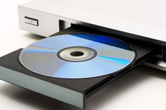 DVD player. Close-up of the silver DVD-player royalty free stock image