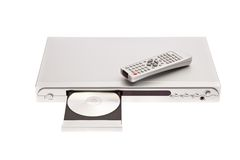 DVD player ejecting disc with remote control. Isolated on white background stock photo