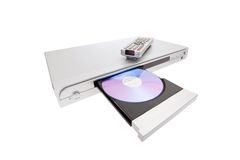 DVD player ejecting disc with remote control. Isolated on white background stock photography