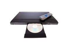 DVD player ejecting disc with remote control Royalty Free Stock Photo