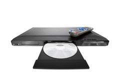 DVD player ejecting disc with remote control. Isolated on white background stock images