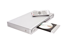 DVD player ejecting disc with remote control isola Royalty Free Stock Photos
