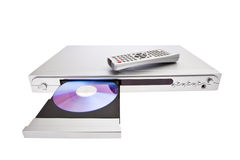 DVD player ejecting disc with remote control isola Royalty Free Stock Photography