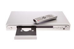 DVD player ejecting disc with remote control. Isolated on white background royalty free stock photo