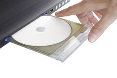 Dvd player with hand Stock Photo
