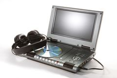 DVD player with headphones Stock Photography