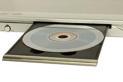 DVD player with inserted disc taken closeup. DVD player with inserted disc on white background taken closeup Royalty Free Stock Photos
