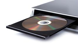 DVD player with open disc tray. Isolated on white Stock Image