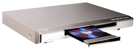 DVD player with open tray stock photography