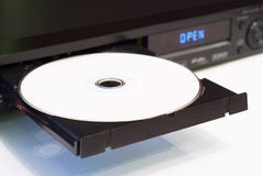 DVD player with an open tray. White background stock image